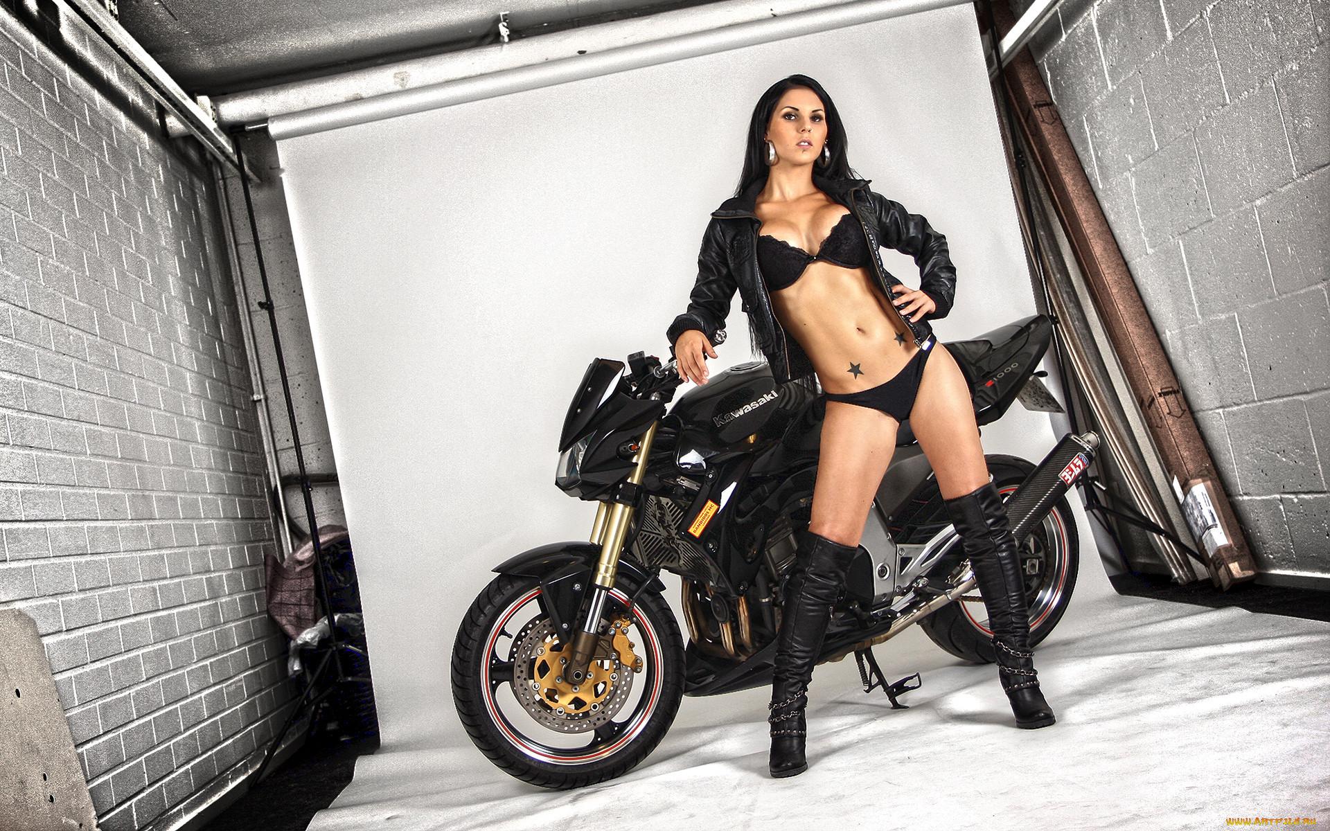 мотоциклы, мото, девушкой, тату, куртка